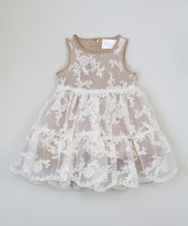 Look at this Almond Lace Dress - Toddler & Girls on #zulily today!