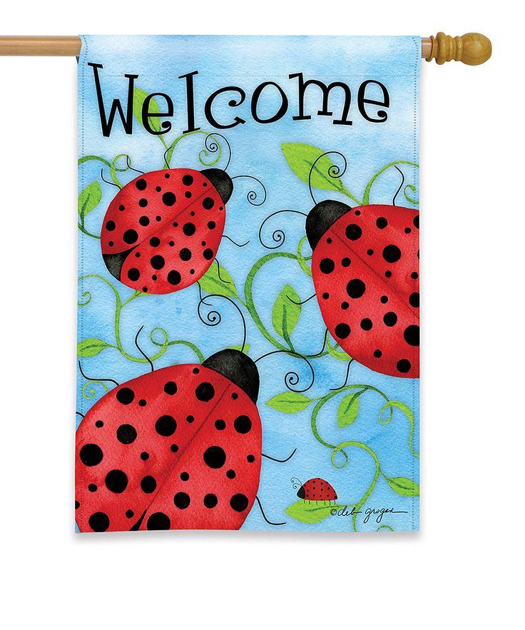 Ladybug 'Welcome' Outdoor Flag