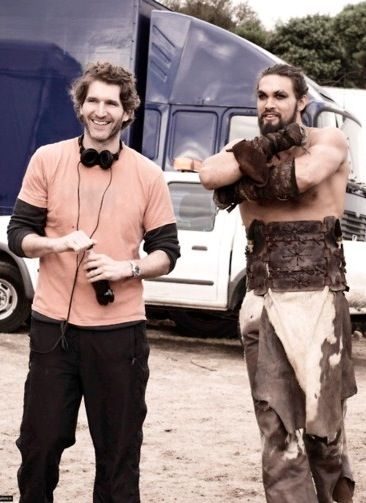 Game of Thrones David Benioff and Jason Momoa on the set of GoT