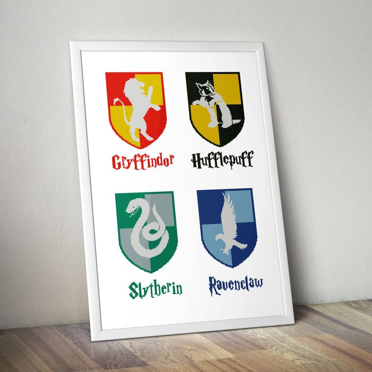 Hogwarts Houses Gryffindor Slytherin Hufflepuff Ravenclaw Logo Crest Harry Potter Cross-stitch PDF pattern Instant digital download + bonus by Up2XStitch on Etsy https://www.etsy.com/listing/476544453/hogwarts-houses-gryffindor-slytherin