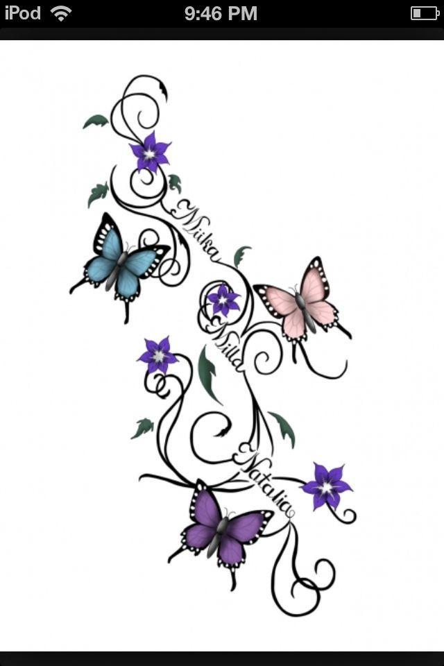 Family tattoo?: Tattoo Ideas Butterflies Name Tattoo Tattoo Designs ...