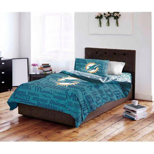 NFL Miami Dolphin Bed Set Queen Comforter Flat Sheet 2 Pillow Cases Bedroom