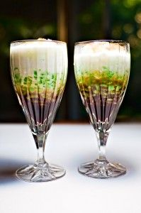 Cendol is a traditional dessert originating from South East Asia which is popular esp in Indonesia. The dessert's basic ingredients are coconut milk, a worm-like jelly made from rice flour with green food coloring (usually derived from the pandan leaf), shaved ice and palm sugar.