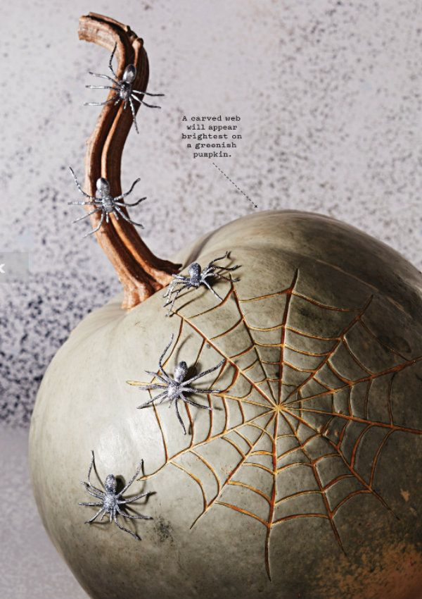 the Spiderweb Etched Pumpkins, you will need an inexpensive linoleum cutter for carving your pumpkin. That way the orange flesh of the pumpkin shines through, when lit from within.