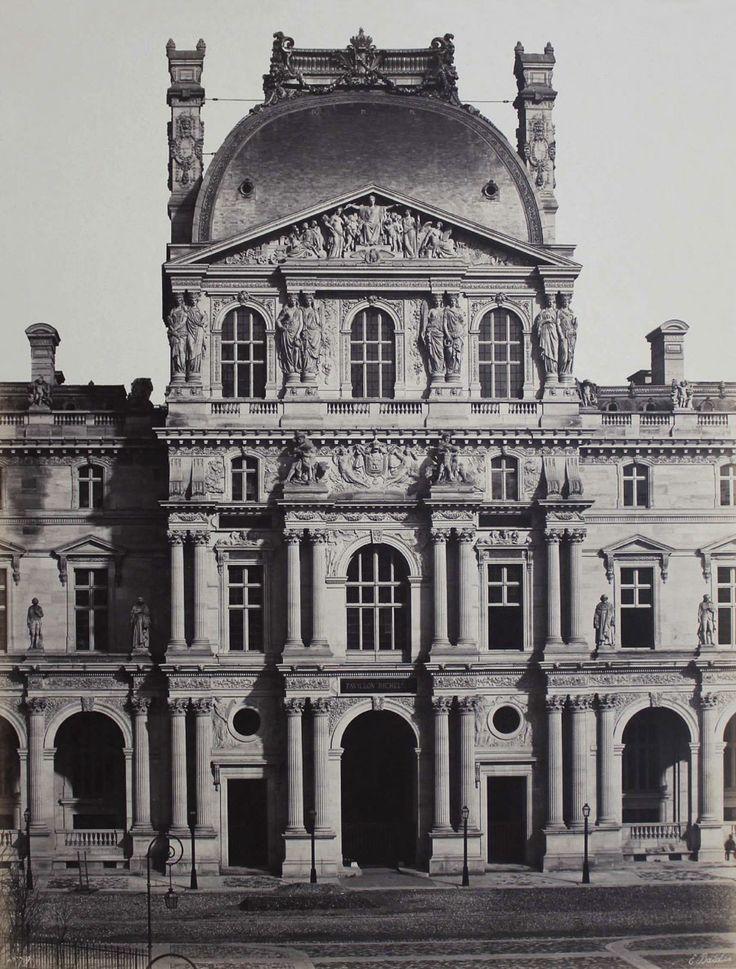"Edouard Baldus  Pavillon Richelieu, Nouveau Louvre, Paris  c. 1855 / An image that the Metropolitan Museum of Art describes as ""among the most spectacular of all Baldus photographs,""  Salt print mounted on card"