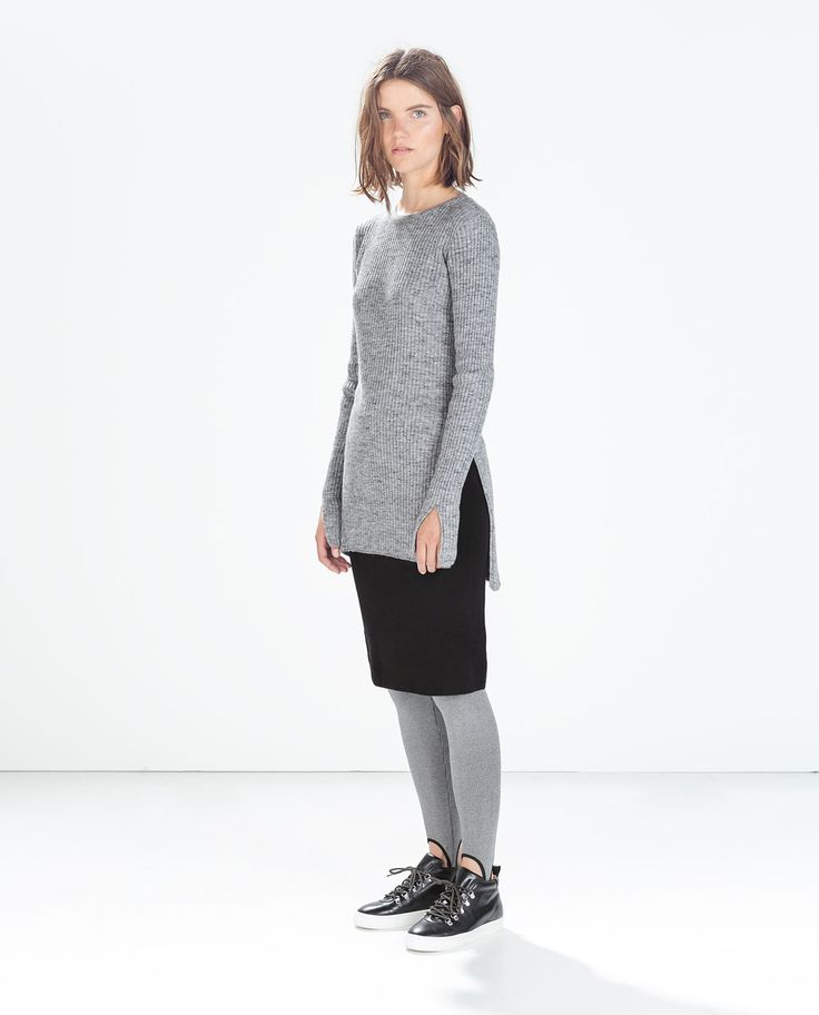 Zara Grey Ribbed Sweater With Side Slits 44