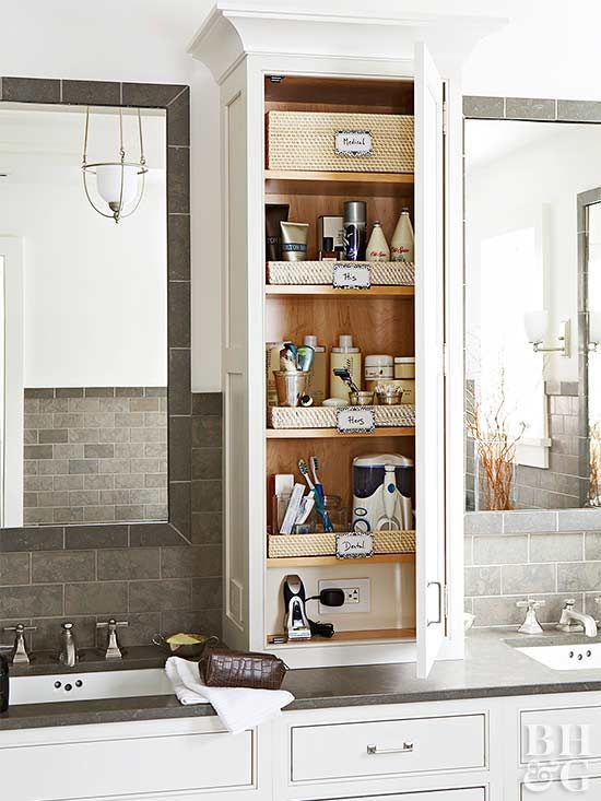 Labeled trays within a countertop tower separate personal products and identify shared shelf space.