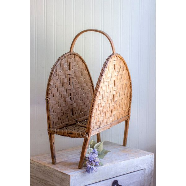 Vintage Magazine Holder, Rattan Storage, Tropical Home, Woven Magazine Rack, Small Space Organization, Sun Room Decor, Bathroom Towel Holder ($55) found on Polyvore