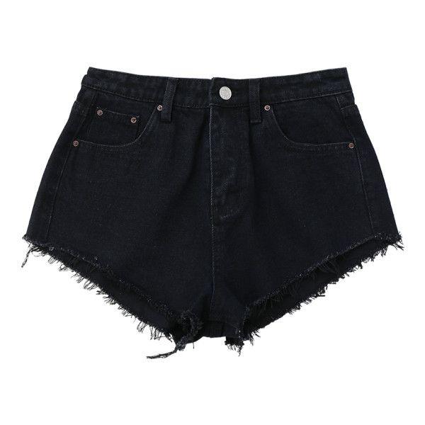 Denim Cutoffs Mini Shorts Black found on Polyvore featuring shorts, denim hotpants, denim hot pants, cut-off shorts, micro shorts and mini shorts