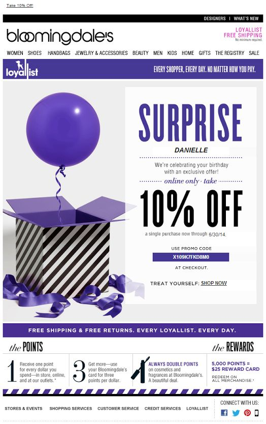Bloomingdale's loyalist birthday email 06/2014 SL: Celebrate Your Birthday With a Loyallist Treat--Online Only