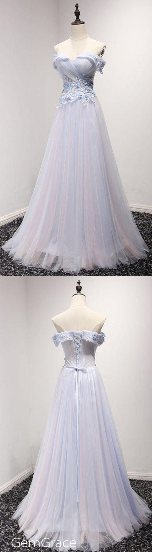 Elegantes Blau A Line Abendkleid Aus Der Schulter Lang Tüll Mit Applikationen Spitze # AY004 $ 169.99 – GemGrace.com