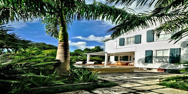 Exterior Home Style Design with White Exterior and Stone Walkway
