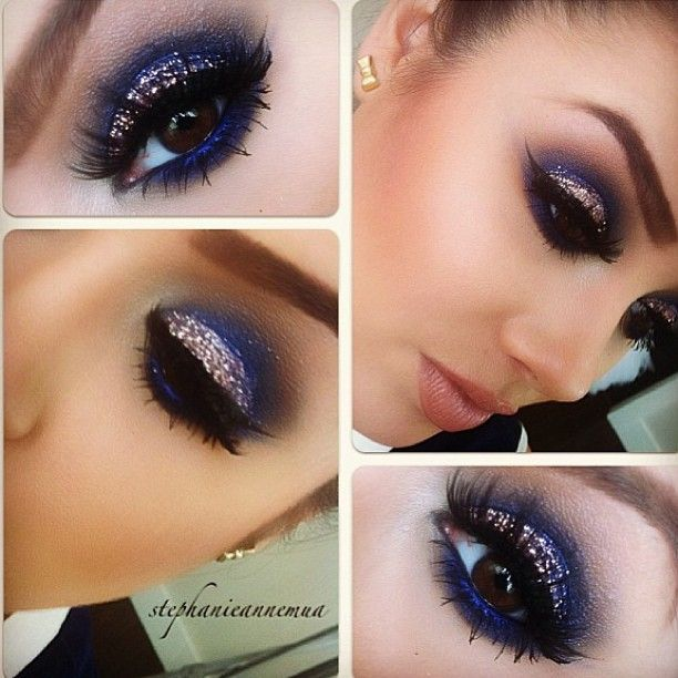 """Love this inky navy & glitter eye for a NYE look. This with my favorite pinky nude lip combo of OCC """"divine"""" mixed with MAC """"Myth""""."""