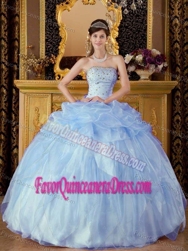 Popular Strapless Organza Quinceanera Gown Dresses with Pickups in Lilac