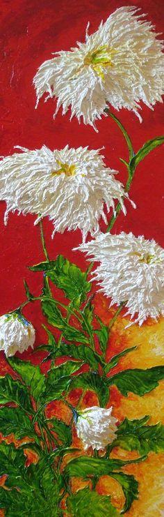 White Mums on Red Original Palette Knife Impasto Oil Painting