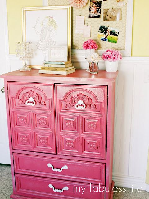 Having a brightly coloured accent piece of furniture can be so chic!Bright Pink, Painting Furniture, Old Dressers, Dressers Makeovers, Girls Room, Chicken Wire, Pink Dressers, Hot Pink, Painting Dressers