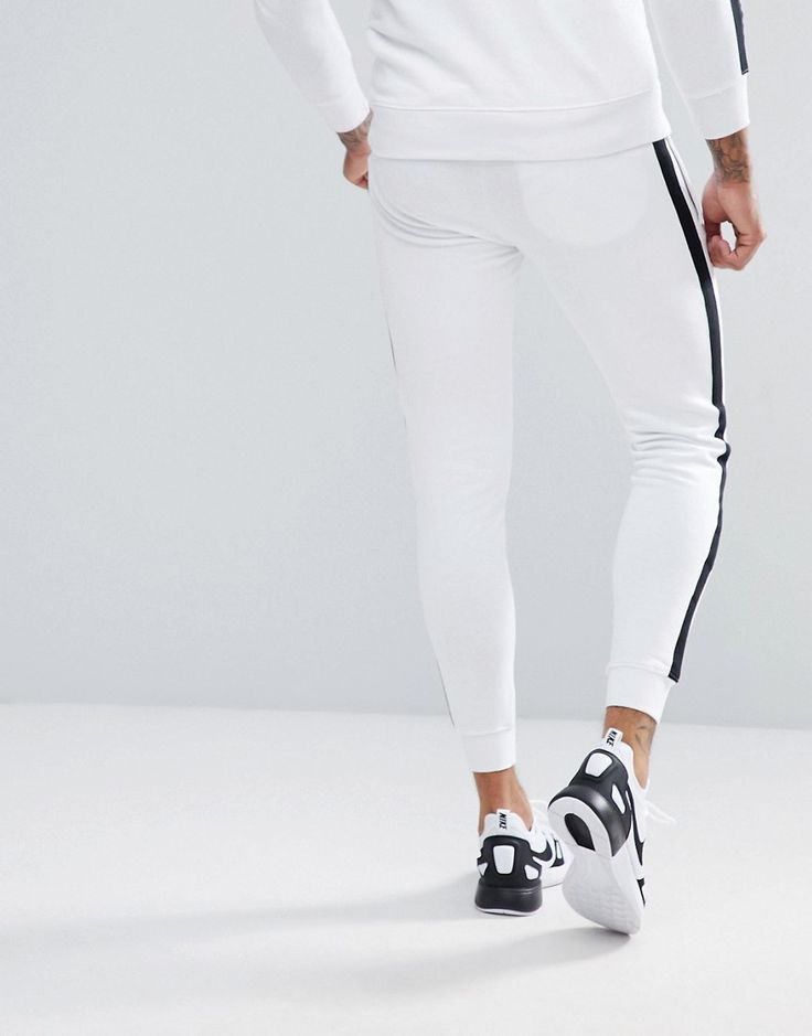 Good For Nothing Skinny Joggers In White With Side Stripes - White
