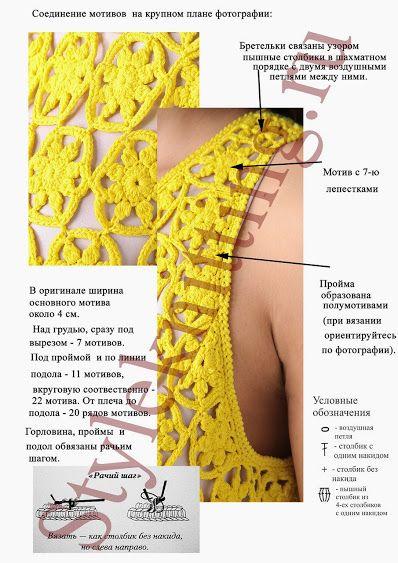 Outstanding Crochet: Crochet Dress from Diane von Fürstenberg with some charts. ☀CQ #crochet #apparel http://www.pinterest.com/CoronaQueen/crochet-apparel-corona/