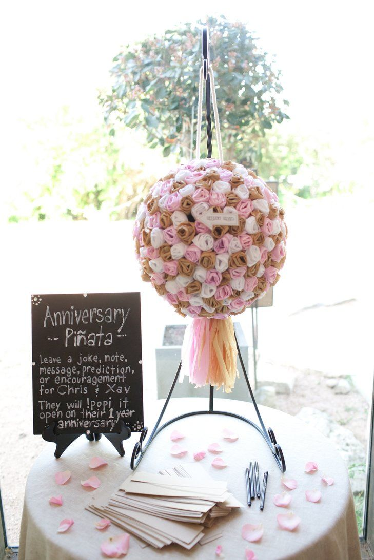 Anniversary Piñata ~ instead of the traditional guest book, have guest write messages, advice, etc. to be broken into on the one year anniversary