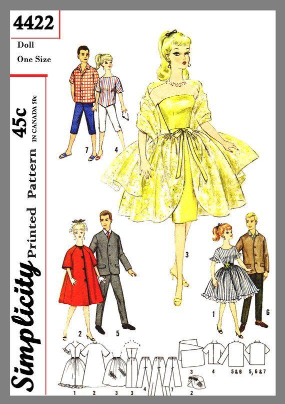 Kleiderschrank für Teen Modell und Freund Puppen Barbie Ken Stoff Schnittmuster # 4 …   – doll clothing