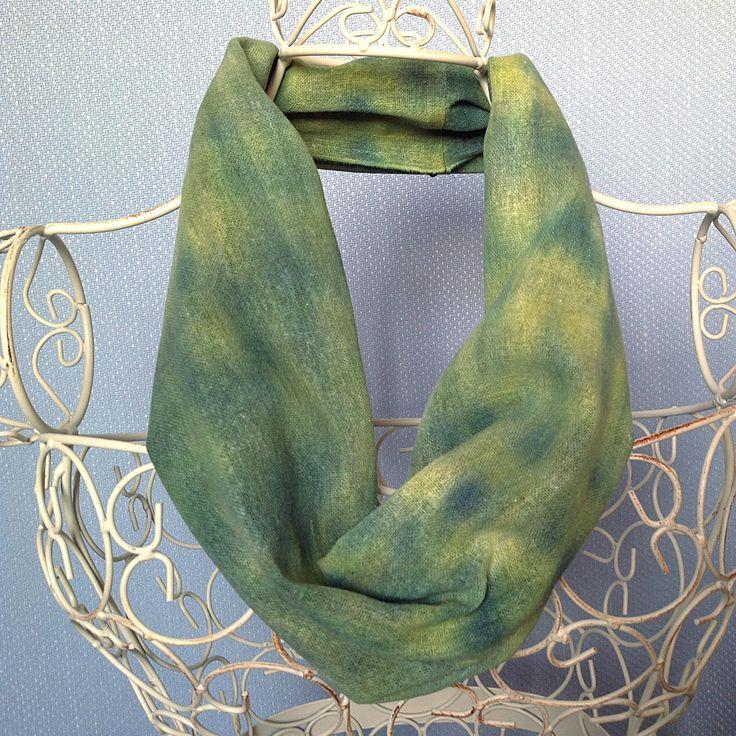 Infinity Snood Scarf, green scarf, scarf, infinity scarf, snood scarf, green, emerald, jade, lime, pear, handpainted scarf, silk scarf, S545 by ArtOnSilk on Etsy