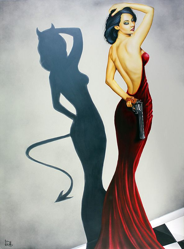 "Scott Rohlfs ""Devil Inside"" Acrylic on Canvas 48 x 36 inches Original Art distinctionart.com"
