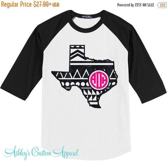 Texas Monogram - Monogram Baseball Tee -Texas Baseball Tee - Texas Shirt - Aztec Print Raglan - Custom Texas Shirt - Texas - Texas Pride  by AshleysCustomApparel