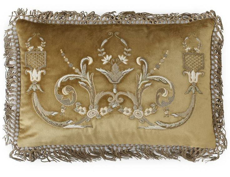 Thalia hand embroidered cushions. A strong classic design of acanthus leaves in finely detailed gold thread embroidery.