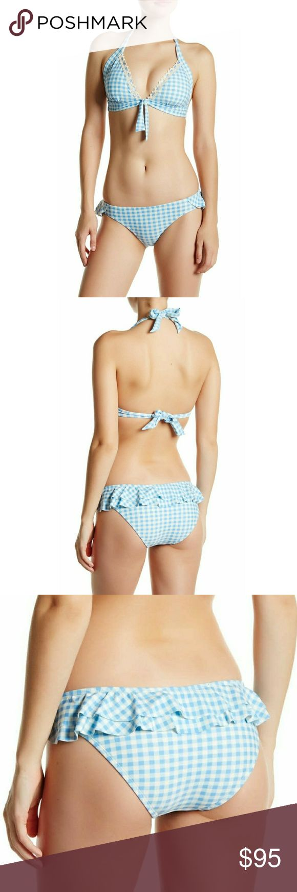 Gingham Hipster Moderate Bikini Bottoms Gingham Hipster Moderate Bikini Bottoms  Color: Mystic Blue  Pin-up style flirty gingham print ruffle bikini bottoms. Match with any style of a white bikini top for a look that you love♡  Hipster cut with ruffle detail  Gingham Print Moderate Coverage  Fully lined Imported  *Fits True To Size   Fiber Content: 81% Nylon  19% Spandex   Care: Hand Wash Betsey Johnson Swim Bikinis