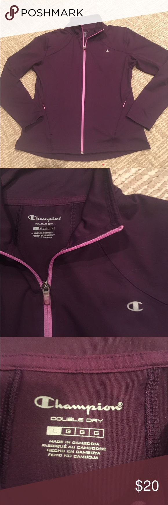 CHAMPION PURPLE ZIP UP JACKET DOUBLE DRY Perfect condition purple zip up champion jacket with two front pockets double dry size large  activewear jacket perfect for the gym or everyday wear! Champion Tops Sweatshirts & Hoodies