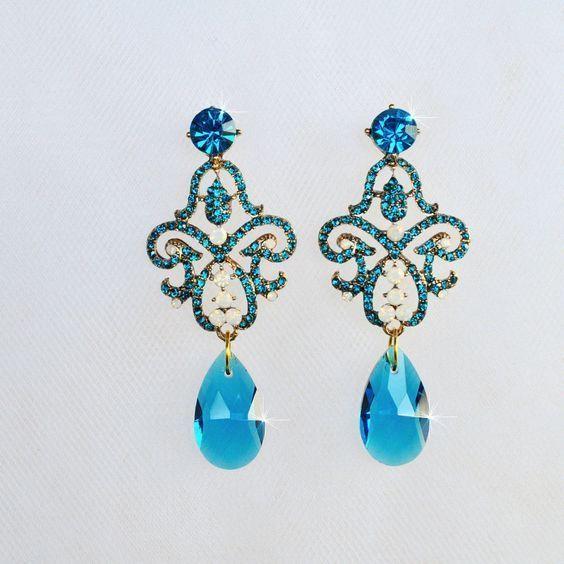 Blue Zircon Teal Crystal Rhinestone Chandelier Earrings (Sparkle-2499) #Handmade #Chandelier