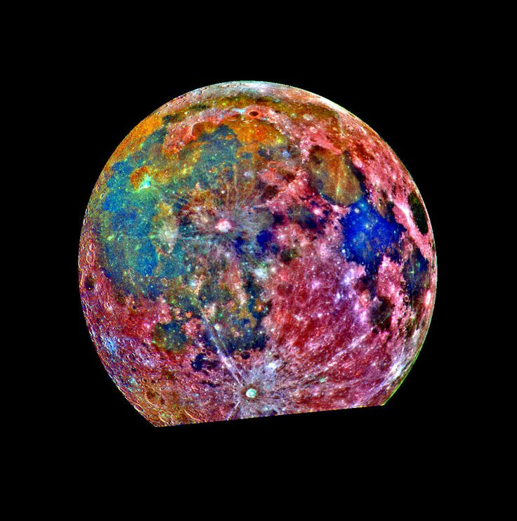 The moon, color coded for titanium richness