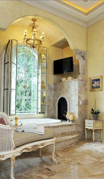 fireplace over the tub