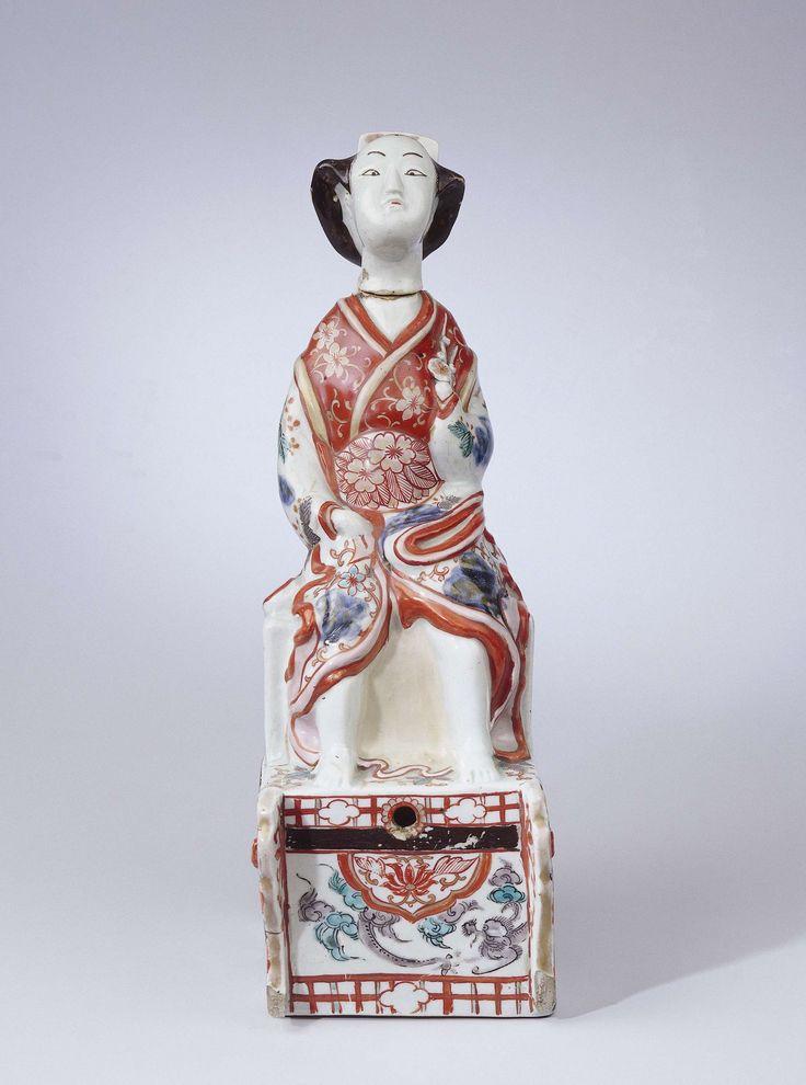 Jeneverkruik in de vorm van een Japanse vrouw op een kar, anoniem, ca. 1700 - ca. 1730