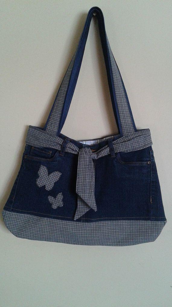 Recycelte Jeanstasche aus Baumwolle mit Innentaschen und