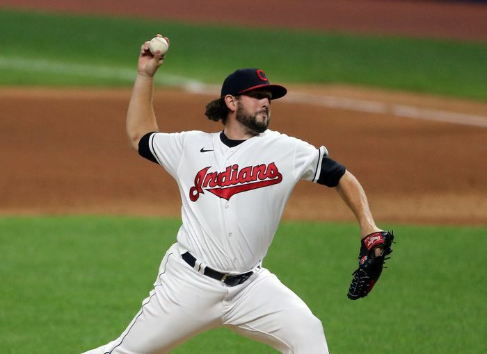 Cleveland Indians Relief Pitcher Dominic Leone Pitches In The Eighth Inning Of Game Two Of A Double Header At Progressi Cleveland Indians Double Header Indians