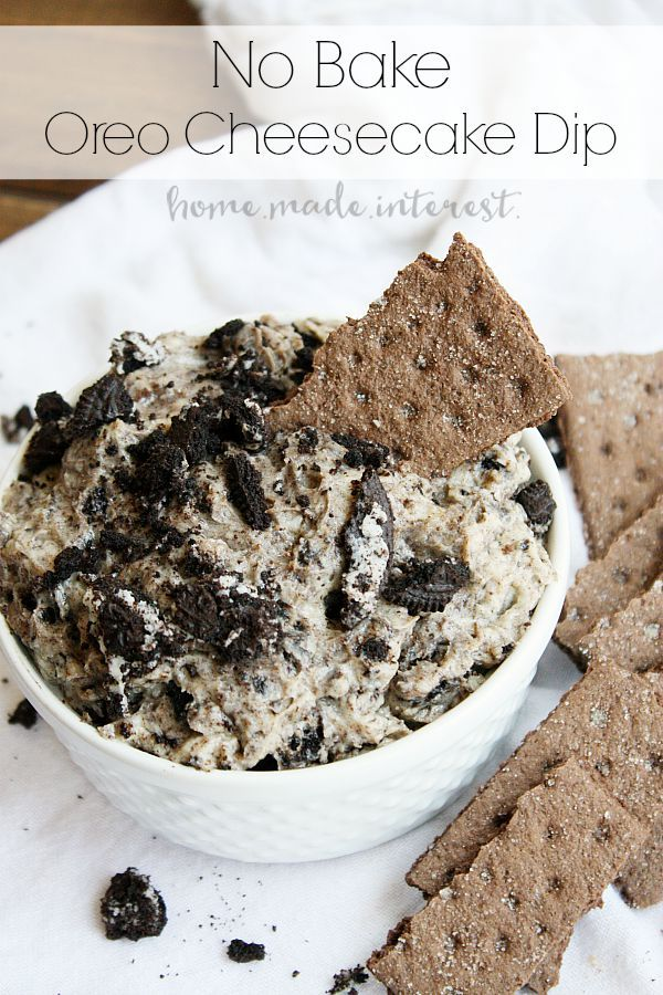 Creamy cheesecake and oreo cookies make this simple no bake cheesecake dip a great dessert recipe for parties. (No Bake Recipes Dips)