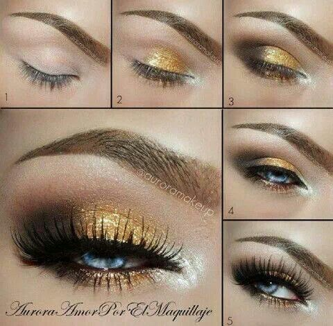 Gold smokey eye makeup tutorial | beauty | Pinterest ...