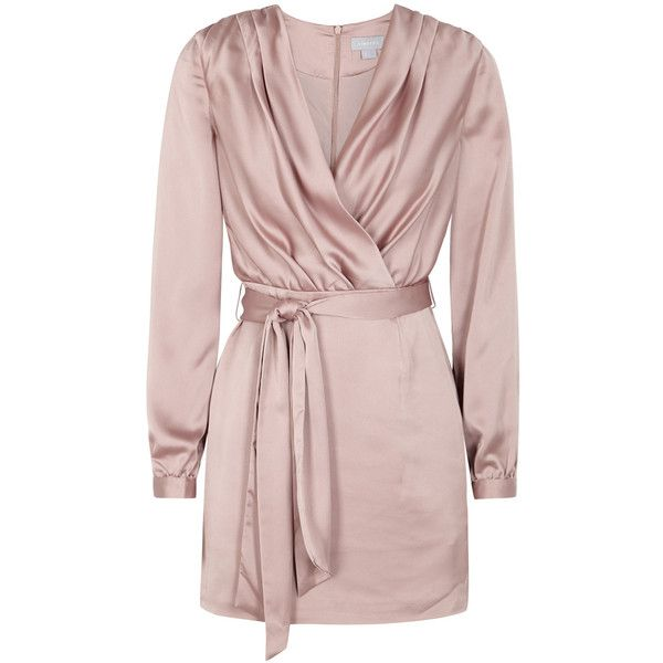 Finders Keepers Aspects Mink Satin Mini Dress - Size XS (650 ILS) ❤ liked on Polyvore featuring dresses, mini wrap dress, tie waist dress, pink mini dress, wrap dress and short dresses
