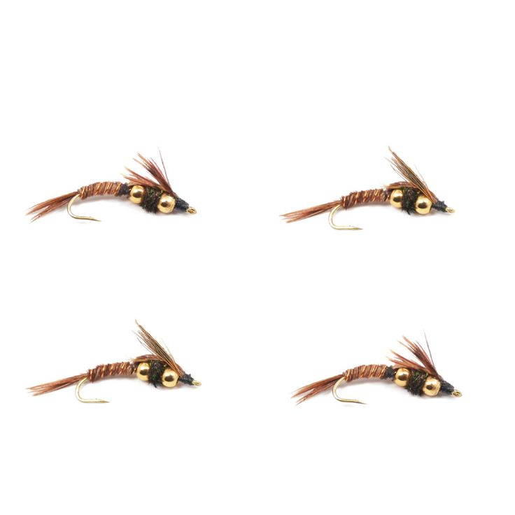 Double Bead Nymph Flies - DB Pheasant Tail Nymph Bass Trout Fly Fishing Fly - 4 Flies
