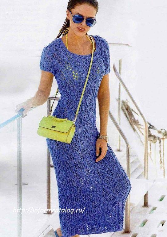 платье спицами описание и схема