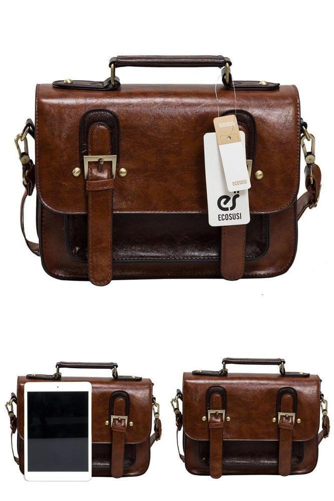 Vintage Womens Genuine Real Leather Handbag Small Satchel