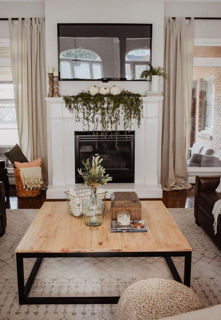 Mandelin Wood/Metal Coffee Table Natural/ White P…