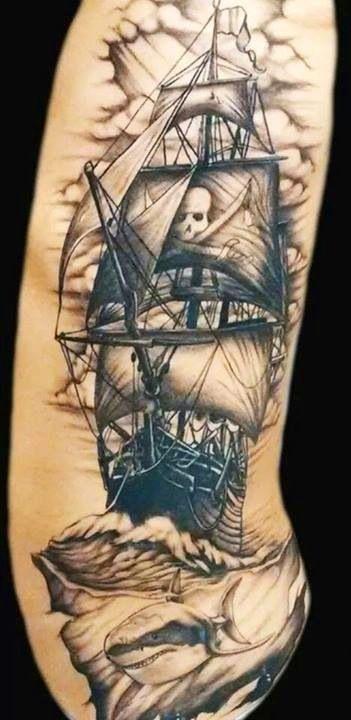 BLACK BEARD Tattoos Chattanooga Tn. Black Beards Pirate Ship W/ Shark.