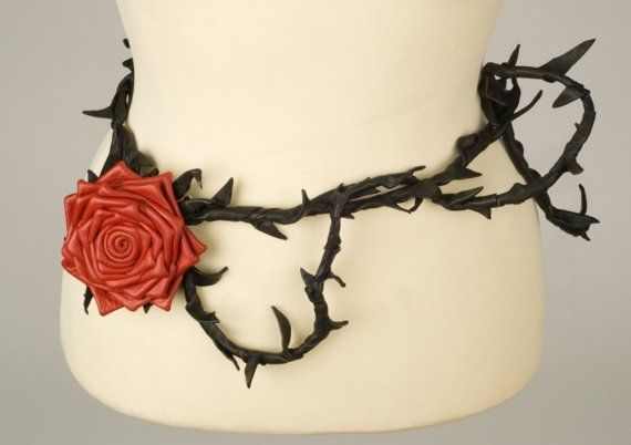 """Red Rose Leather Belt."" This versatile belt can also be worn as a necklace or harness. Check out the photos on the listing for the black version for examples."