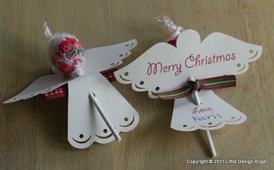 Die cut angel lollipop holders.