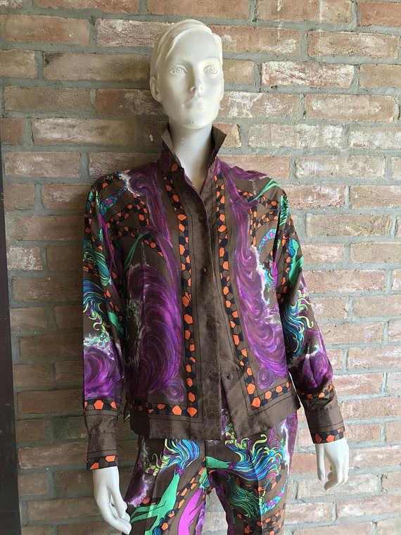 Vintage Capri pants and jacket pure silk fantasy print