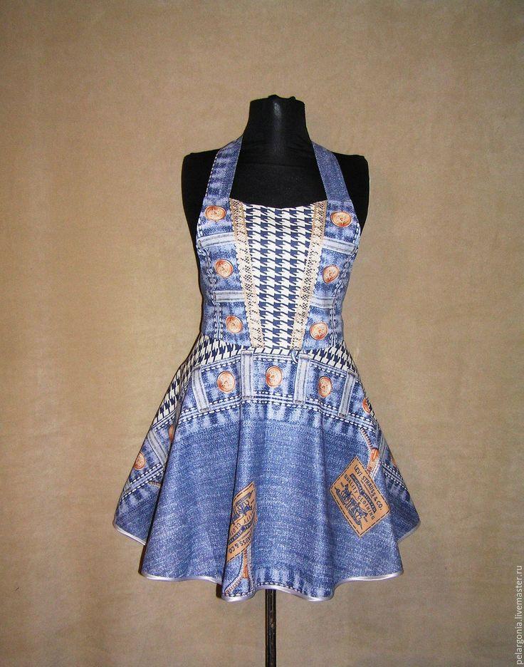 """Купить Фартук женский """"Джинсовый-3""""(юбка клеш,джинса, синий) - женский фартук, подарок женщине"""