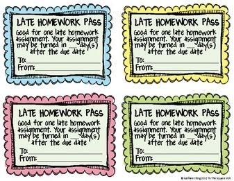 """Late"" homework pass - they still have to do the work, just no consequence if it's a little late."