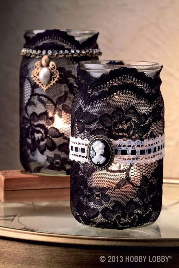 Vintage Black Lace Wrapped Mason Jar Candle Holder for Halloween